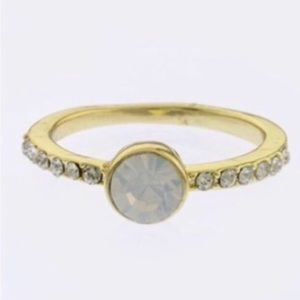 Crystal pave decorative stone ring, size 7